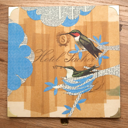 Upcycled collage Hummingbirds