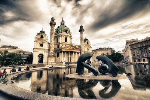 Karlskirche with art by Henry Moore by stst31415
