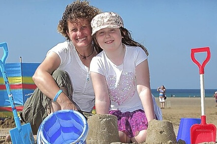 Liz Kessler and fan at Perranporth
