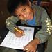 Jose Felix practicing the alphabet