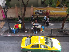 Bangkok Taxi and Sidewalk