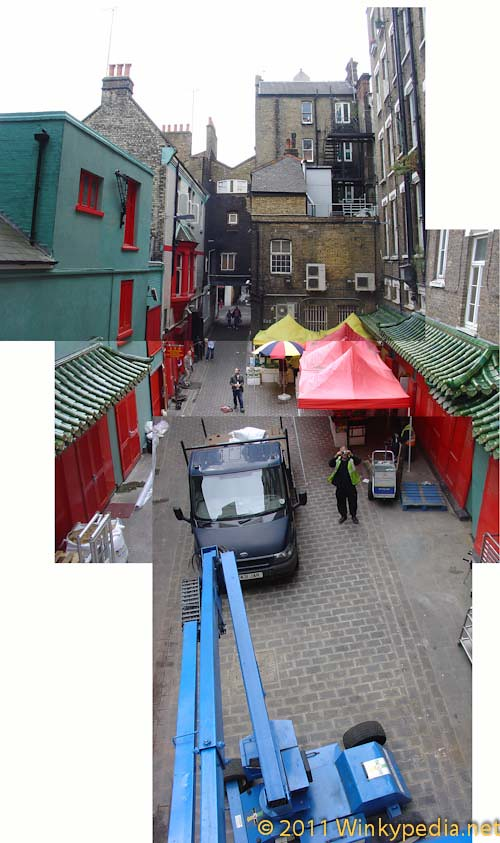 Looking down from the cherry picker in Horse and Dolphin Yard, London Chinatown
