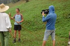 Being filmed by Romanian tv
