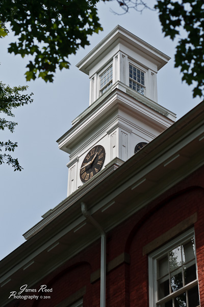 A clock tower atop a classroom building at Western Reserve Academy.