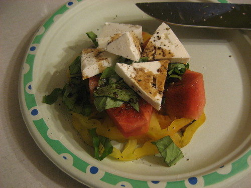 Heirloom tomato salad with watermelon, basil and feta