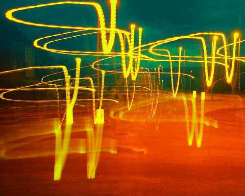 20110824-08_Light-Trail Experiment_Yellow on Green + Orange by gary.hadden