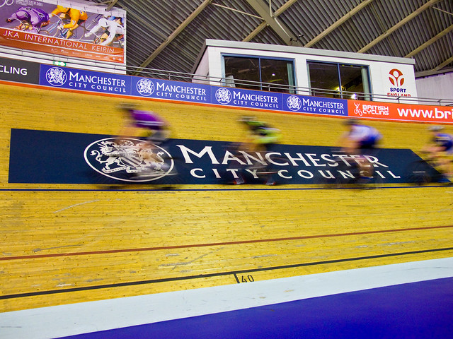 Riders practising in the Velodrome