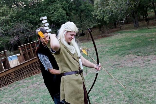 Legolas fits his bow.  Photo by Joshua Martin.