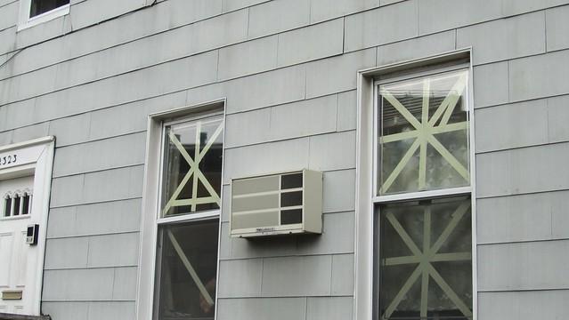 taping windows.