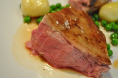 Detail: Scottish lamb, aubergine, smoked potatoes, English Peas