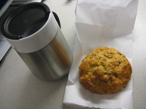 coffee, cranberry almond scone