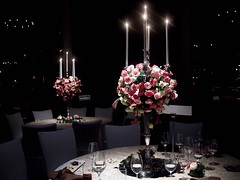 Table Flower Arrangements at Wedding Dinner