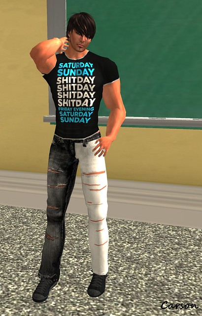 Coxi - Black Saturday Sunday Shitday Tee  KARMA Black Aand White Ripped Jeans
