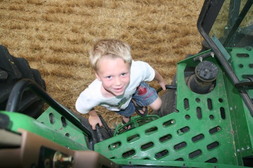 Brady comes to join Grandpa in the tractor