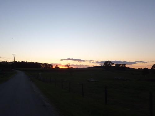 Farm on Gallup Road, Connecticut at sundown