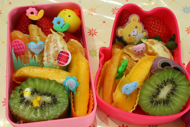 2 Rainbow Fruit Bentos for 2 friends!