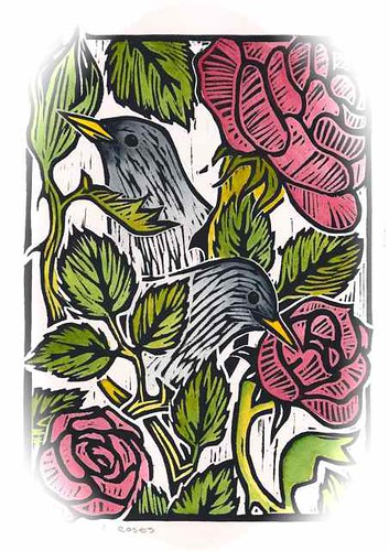Starlings and Roses, Woodcut by Goyo P