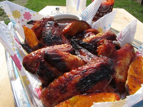 Spicy stick orange BBQ wings