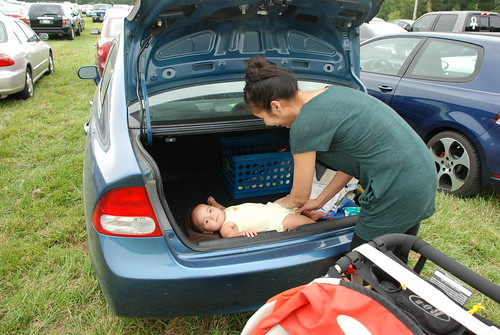 Changing a diaper in the trunk