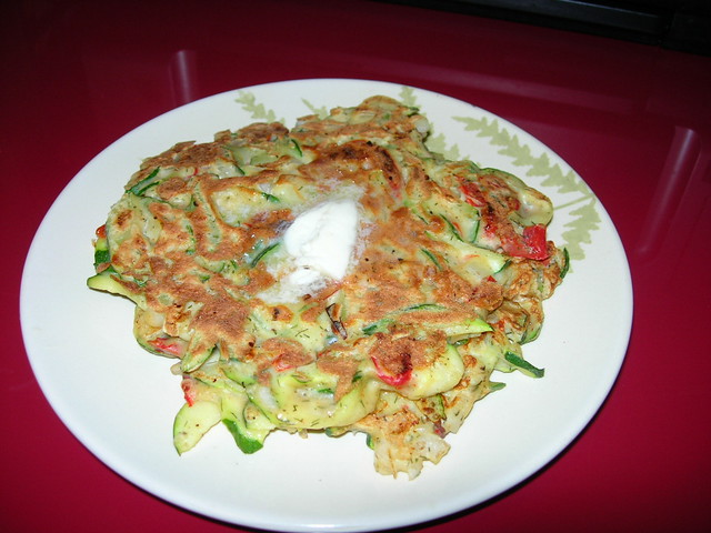 Zucchini & Roasted Red Pepper Pancakes