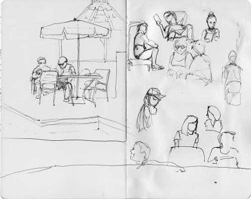 At the Pool Sketching