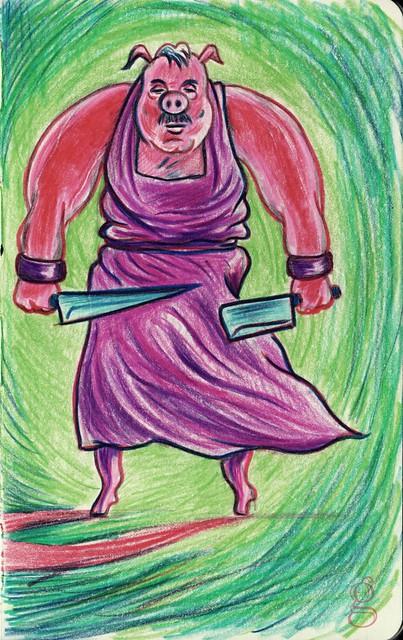 Monster Chef :  Boucherie-Charcuterie (le boucher fou) - Dessin de Gilderic