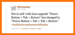 Power Button > Tab > Return