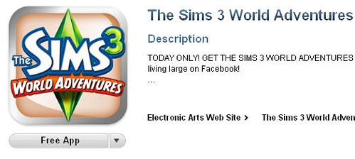 FREE APP ALERT!!! The Sims 3 World Adventures App in the iTunes APP Store is FREE!!!