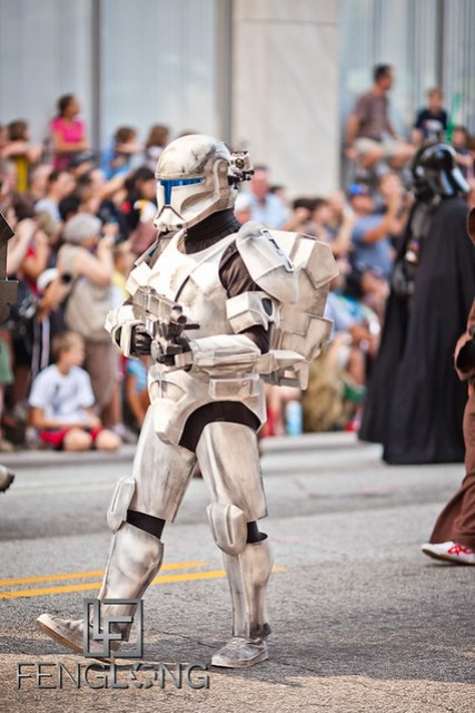 Storm Troopers at the 25th Anniversary Dragon Con Parade 2011 on Peachtree Street in Downtown Atlanta