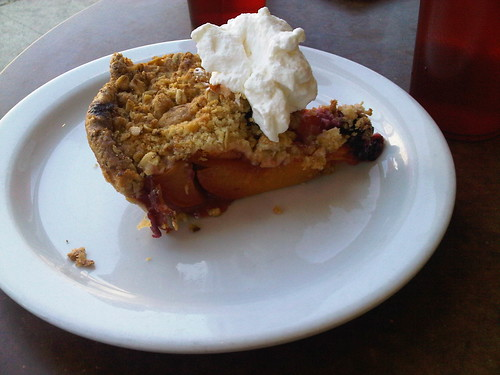 Peach blackberry pie from mission pie