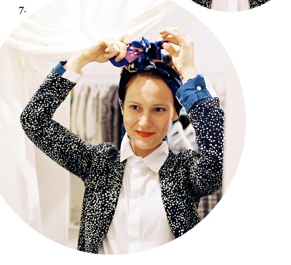 2. tie over head. go around. bring scarf back up. tie knot. double knot it. - Copy (2)