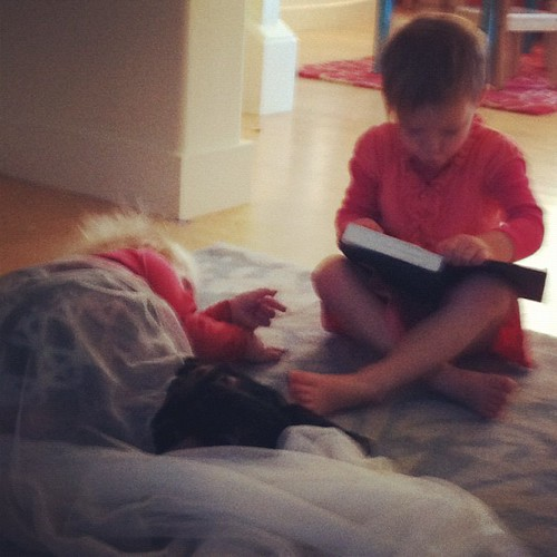 I'm reading the Harry Potters to the baby.
