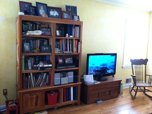 bookcase/TV before