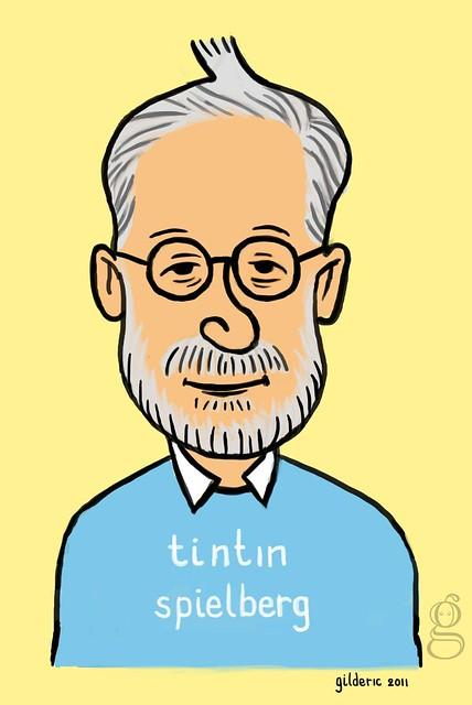 """Spielberg Tintin - un portrait """"ligne claire"""" de Steven Spielberg à la Hergé, par Gilderic"""