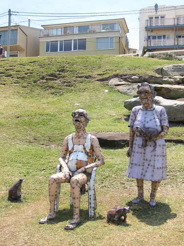 Old man and woman with toads