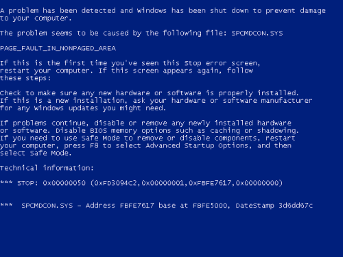 Windows XP Blue Screen of Death