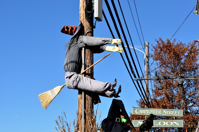witch on telephone pole