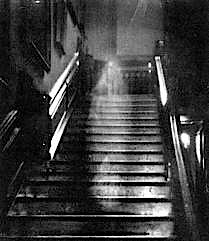 Photo of a ghost on creepy steps