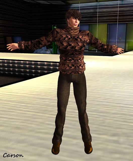 Paris Metro Men's Big Kable Sweater & Tweed Slacks