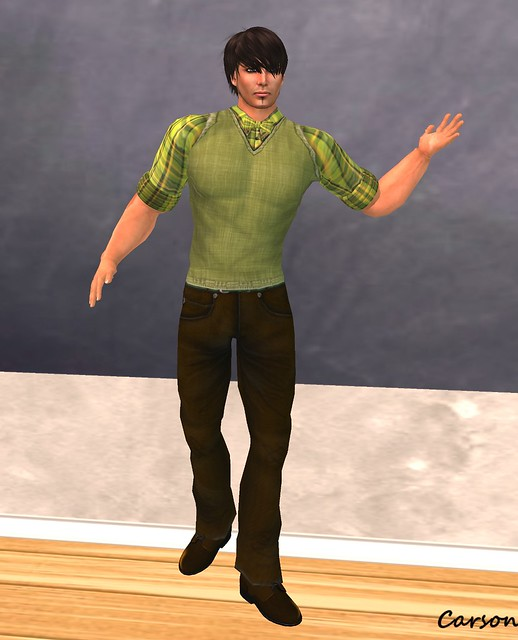 SHIKI Designs - Brown Jeans, Green Plaid Shirt with Sweater, Bow Tie