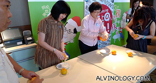 Orange peeling competition