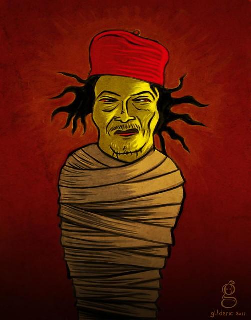 La mort de Kadhafi (illustration : Gilderic)