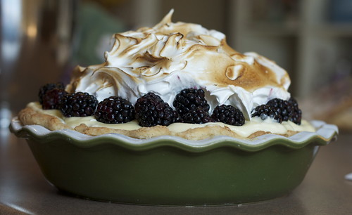 Lime Blackberry Pie with Italian Meringue
