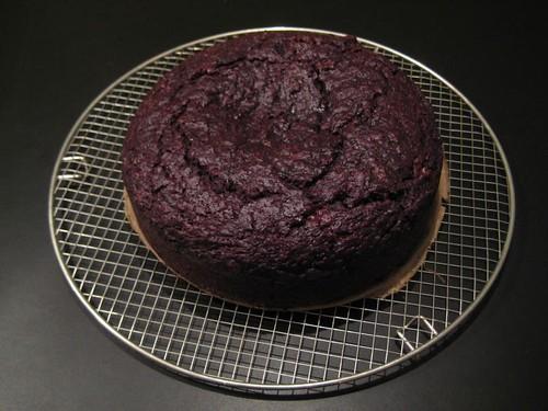 Cooled down chocolat-beetroot pie in penultimate stage