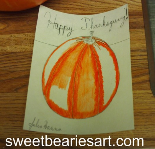 Coloring In The Pumpkin Drawing