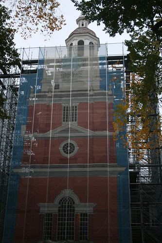 Independence Hall under renovation