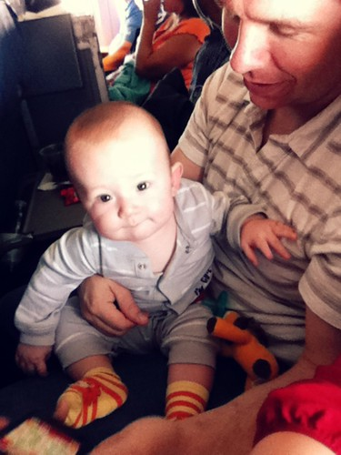 playing with Daddy in the flight