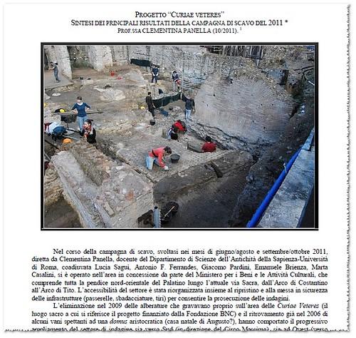 """ROMA - ARCHEOLOGIA Straordinari i risultati degli ultimi scavi della Sapienza: [PDF=] """"PROGETTO """"CURIAE VETERES"""" SINTESI DEI PRINCIPALI RISULTATI DELLA CAMPAGNA DI SCAVO DEL 2011, PROF.SSA CLEMENTINA PANELLA (10/2011).""""  by Martin G. Conde"""