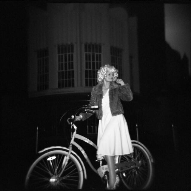 Wife, Holga, bike, Critical Mass.