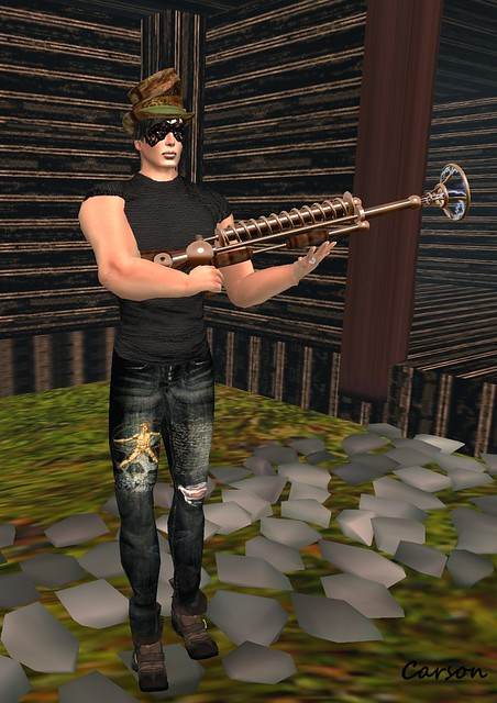 Timeless Curiosities - Dr Calamari Sinister Aether Rifle, SR Leatherwerkx - Scrunched Leather Top Hat, NaCrS - asked Skin and Super Villain T-shirt, Never Ever!  Leonardo Jeans